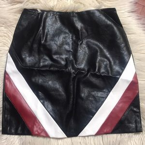 Stripe in faux leather skirt